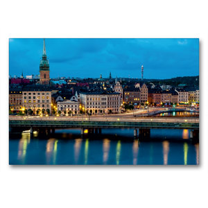 Premium Textil-Leinwand 90 cm x 60 cm quer Stockholm