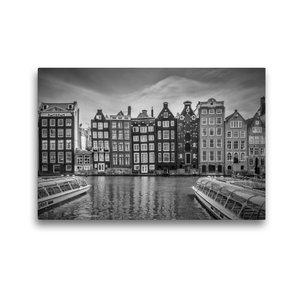 Premium Textil-Leinwand 45 cm x 30 cm quer AMSTERDAM Damrak mit