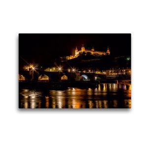 Premium Textil-Leinwand 45 cm x 30 cm quer Würzburg bei Nacht