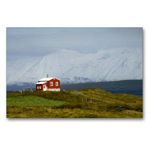 Premium Textil-Leinwand 90 cm x 60 cm quer Dalvíkurkirkjugarður