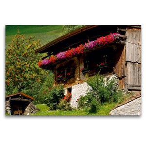 Premium Textil-Leinwand 120 cm x 80 cm quer Bauernhaus im Schnal