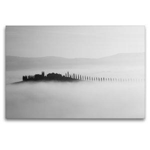 Premium Textil-Leinwand 120 cm x 80 cm quer Insel im Nebel