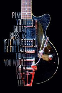 Premium Textil-Leinwand 50 cm x 75 cm hoch Outlaw, E-Gitarre mit