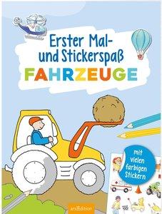 Erster Mal- und Stickerspaß Fahrzeuge