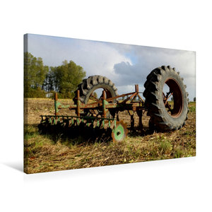 Premium Textil-Leinwand 75 cm x 50 cm quer Alte Egge und Trecker