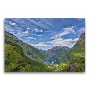 Premium Textil-Leinwand 75 cm x 50 cm quer Geirangerfjord