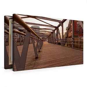 Premium Textil-Leinwand 75 cm x 50 cm quer Brücke Hafencity