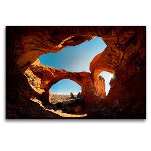 Premium Textil-Leinwand 120 cm x 80 cm quer Double Arch, Arches