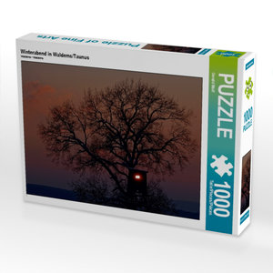 Winterabend in Waldems/Taunus 1000 Teile Puzzle quer