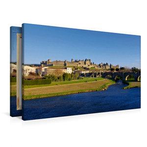 Premium Textil-Leinwand 90 cm x 60 cm quer Cité de Carcassonne