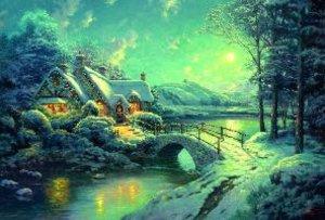Winterliches Mondlicht. Puzzle 500 Teile