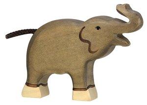 Goki 80150 - Elefant, klein, Rüssel hoch, Holz