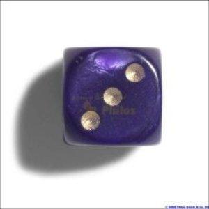 Philos 7105 - Würfel, 12 mm, pearl lila, 36er Brick