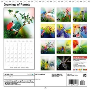 Drawings of Parrots (Wall Calendar 2015 300 × 300 mm Square)