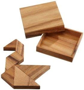 Philos 6212 - Tangram aus Holz, 7 Teile Puzzle, Legespiel