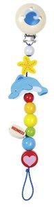 Goki 35570 - Schnullerkette Delfin, Holz