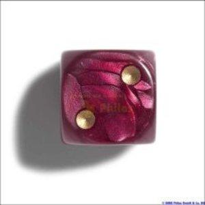 Philos 7100 - Würfel, 12 mm pearl rot, 36er Brick