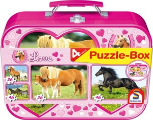 Pferde - Puzzle-Box 2 x 26, 2 x 48 Teile im Metallkoffer