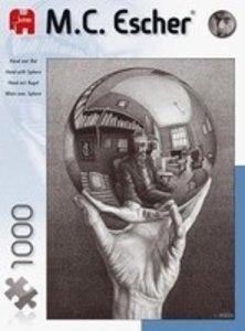Jumbo Spiele 13092 - M.C. Escher: Hand mit Kugel, 1000 Teile Puz