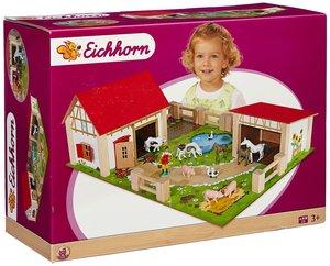 Eichhorn 100004308 - Holz-Bauernhof, inklusive Zubehör, 25-tlg.