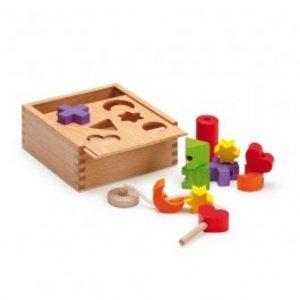 Erzi 42511 - Steck- und Fädelbox, Holz