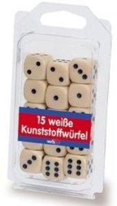 Noris 606154361 - 15 weiße Kunststoff-Augenwürfel, Würfel