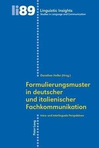 Formulierungsmuster in deutscher und italienischer Fachkommunika