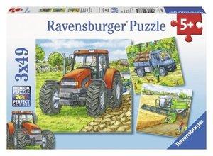 Große Landmaschinen. Puzzle 3 X 49 Teile