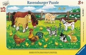 Ravensburger 06046 - Bauernhoftiere auf der Wiese, Rahmenpuzzle,