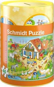 Schmidt 56917 - Bauernhof Puzzles in Spardose, 60 Teile