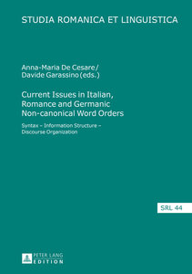 Current Issues in Italian, Romance and Germanic Non-canonical Wo