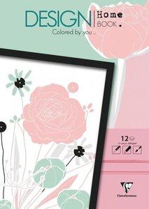 Malbücher verleimt für Erwachsene: Design Home Book 13x17cm Blum