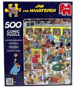 Jan van Haasteren - Bahnsteig-Trubel - 500 Teile mit Poster
