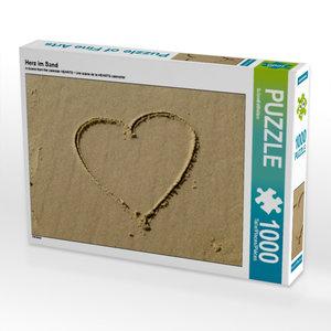 Herz im Sand 1000 Teile Puzzle quer