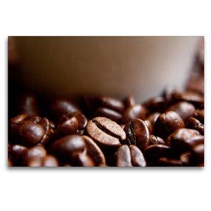 Premium Textil-Leinwand 120 cm x 80 cm quer Frische Kaffeebohnen
