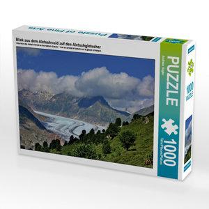 Blick aus dem Aletschwald auf den Aletschgletscher 1000 Teile Pu