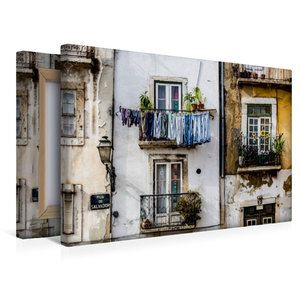 Premium Textil-Leinwand 45 cm x 30 cm quer Häuserfassade