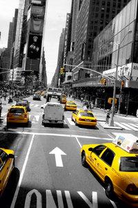 Premium Textil-Leinwand 50 cm x 75 cm hoch NYC Cabs