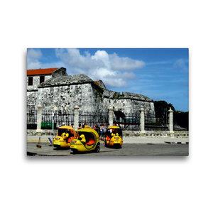 Premium Textil-Leinwand 45 cm x 30 cm quer Coco-Taxis in Havanna