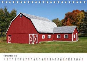 Red Barns - rote Scheunen (Tischkalender 2019 DIN A5 quer)