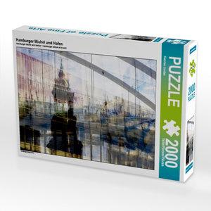 Hamburger Michel und Hafen 2000 Teile Puzzle quer