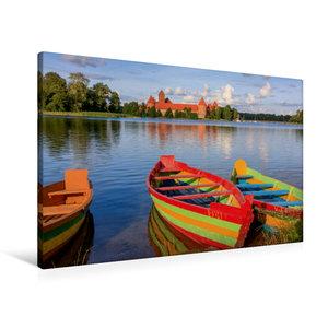 Premium Textil-Leinwand 90 cm x 60 cm quer Litauen - Wasserburg