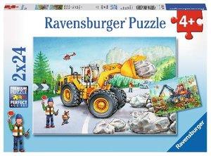 Ravensbuger 07802 - Bagger und Waldtraktor, Puzzle 2 X 24 Teile