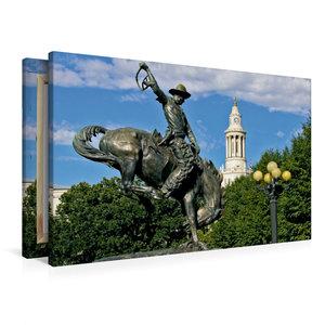 Premium Textil-Leinwand 90 cm x 60 cm quer Bronco Buster Statue,
