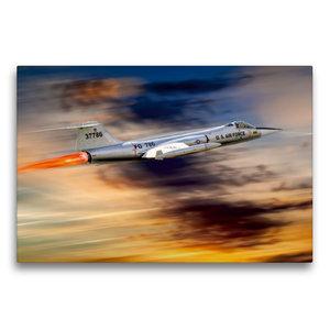 Premium Textil-Leinwand 75 cm x 50 cm quer Modellflugzeug in Akt