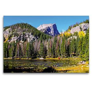 Premium Textil-Leinwand 120 cm x 80 cm quer Rocky Mountain Natio