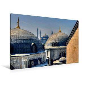 Premium Textil-Leinwand 90 cm x 60 cm quer Ausblick auf die Blau