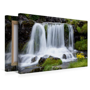 Premium Textil-Leinwand 45 cm x 30 cm quer Wasserfall am Dynjand
