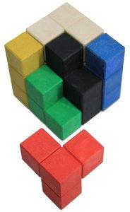 SOMA - Würfel, 7 farbige Elemente aus RE-Wood® in Biobox
