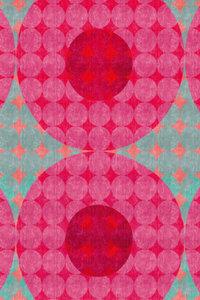 Premium Textil-Leinwand 30 cm x 45 cm hoch Punkte, Rot und Türki
